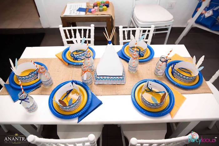 Guest tabletop from a Tribal Wild ONE 1st Birthday Party on Kara's Party Ideas | KarasPartyIdeas.com (4)