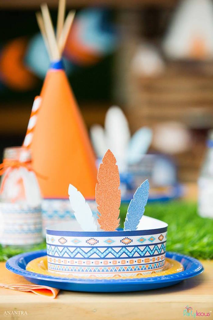 Headdress place setting from a Tribal Wild ONE 1st Birthday Party on Kara's Party Ideas | KarasPartyIdeas.com (34)