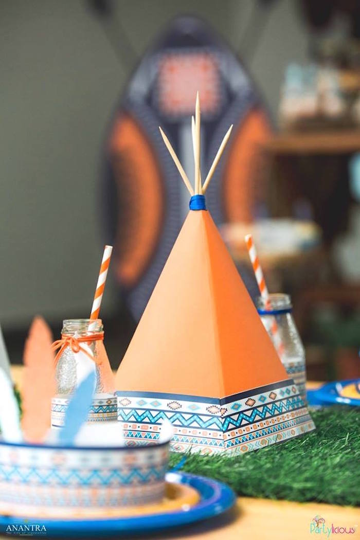 Paper teepee decoration from a Tribal Wild ONE 1st Birthday Party on Kara's Party Ideas | KarasPartyIdeas.com (30)