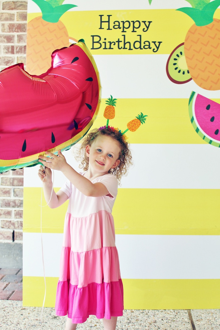 Fruit-inspired photo standee from a Tutti Frutti Birthday Party on Kara's Party Ideas | KarasPartyIdeas.com (4)