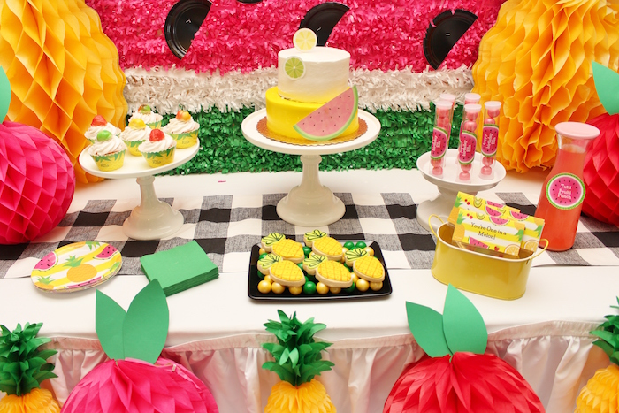 Cake and desserts from a Tutti Frutti Birthday Party on Kara's Party Ideas | KarasPartyIdeas.com (13)