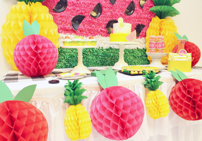 Tissue decoration garland from a Tutti Frutti Birthday Party on Kara's Party Ideas | KarasPartyIdeas.com (10)