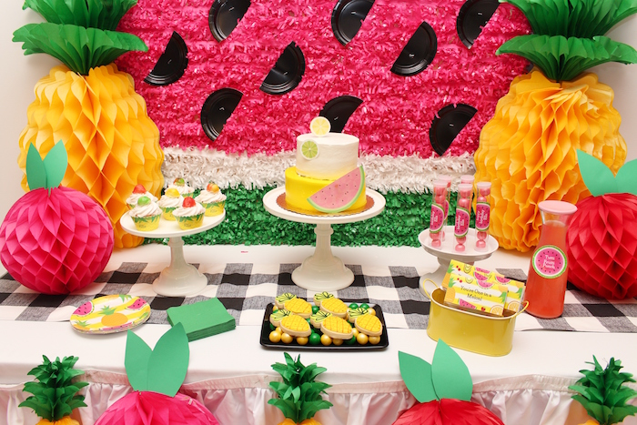 Dessert spread from a Tutti Frutti Birthday Party on Kara's Party Ideas | KarasPartyIdeas.com (9)