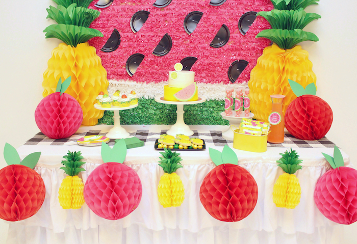 Dessert spread from a Tutti Frutti Birthday Party on Kara's Party Ideas | KarasPartyIdeas.com (8)