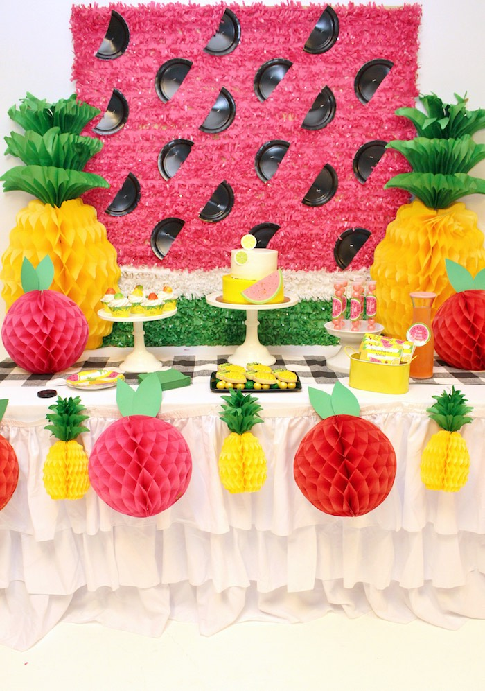 Dessert table from a Tutti Frutti Birthday Party on Kara's Party Ideas | KarasPartyIdeas.com (7)