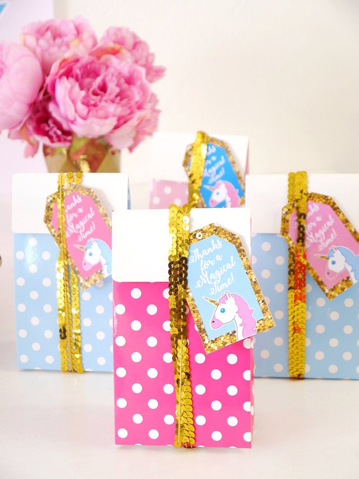 Favor bags from a Unicorn Slumber Party on Kara's Party Ideas | KarasPartyIdeas.com (21)
