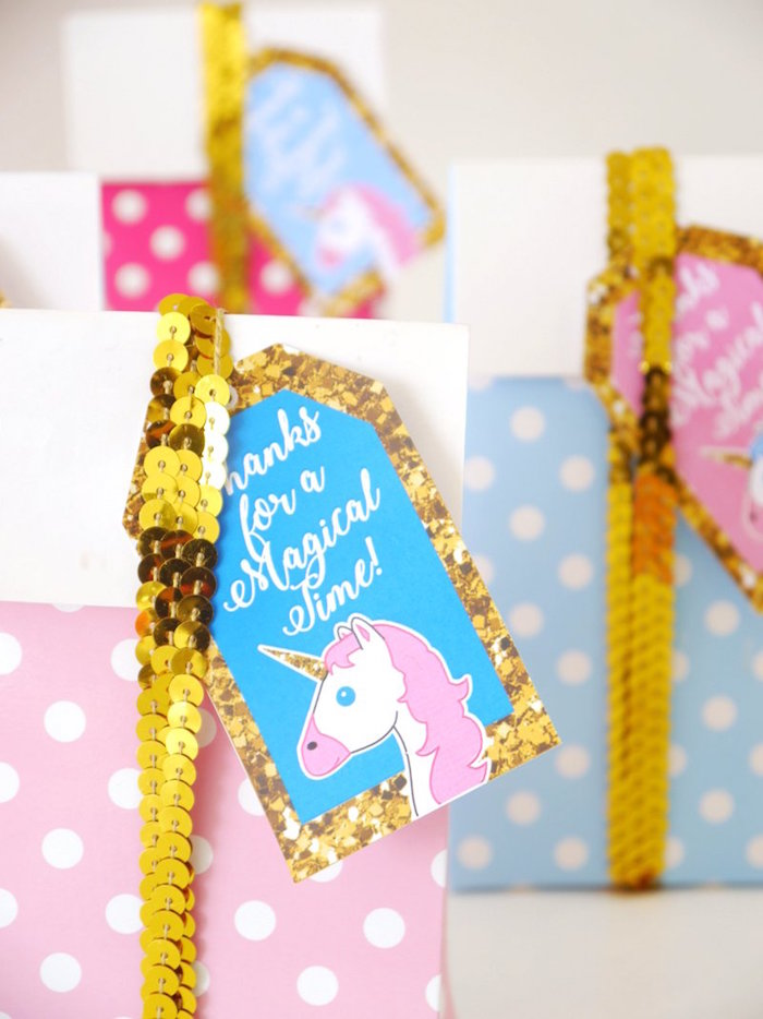 Favor bag tag from a Unicorn Slumber Party on Kara's Party Ideas | KarasPartyIdeas.com (20)
