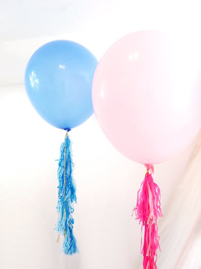 Jumbo balloons with tissue tassel tails from a Unicorn Slumber Party on Kara's Party Ideas | KarasPartyIdeas.com (17)