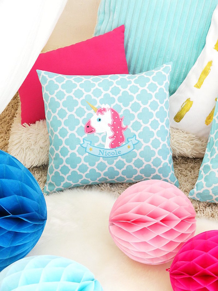 Personalized unicorn pillow from a Unicorn Slumber Party on Kara's Party Ideas | KarasPartyIdeas.com (16)