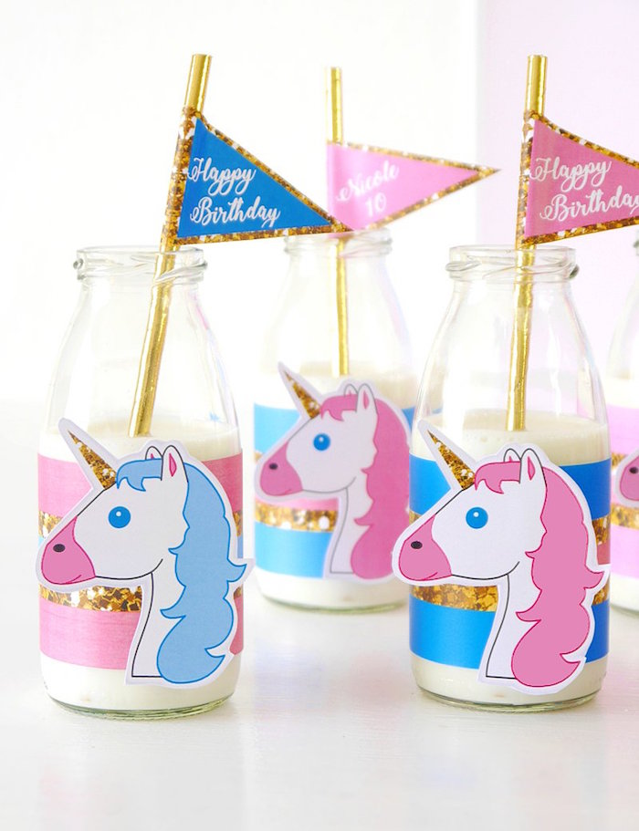 Unicorn drink bottles from a Unicorn Slumber Party on Kara's Party Ideas | KarasPartyIdeas.com (31)