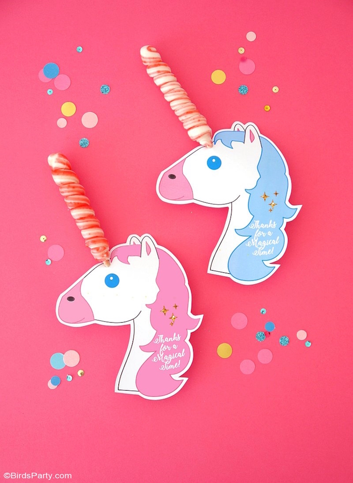 Unicorn lollipop party favors from a Unicorn Slumber Party on Kara's Party Ideas | KarasPartyIdeas.com (8)