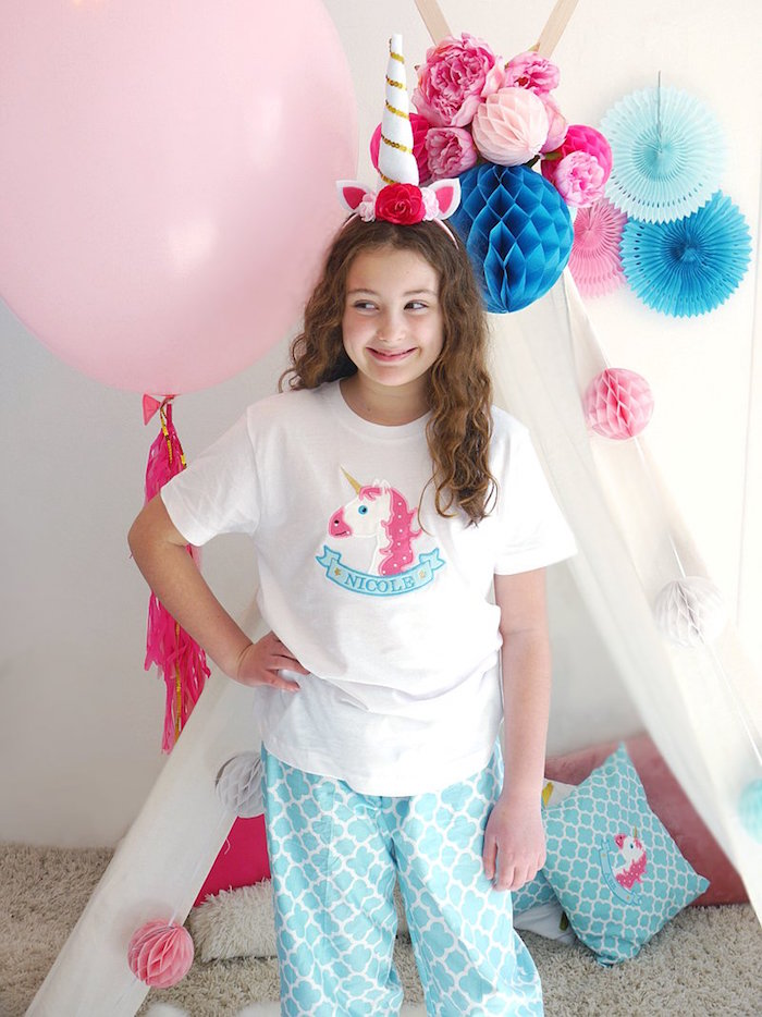 Unicorn pajamas from a Unicorn Slumber Party on Kara's Party Ideas | KarasPartyIdeas.com (5)