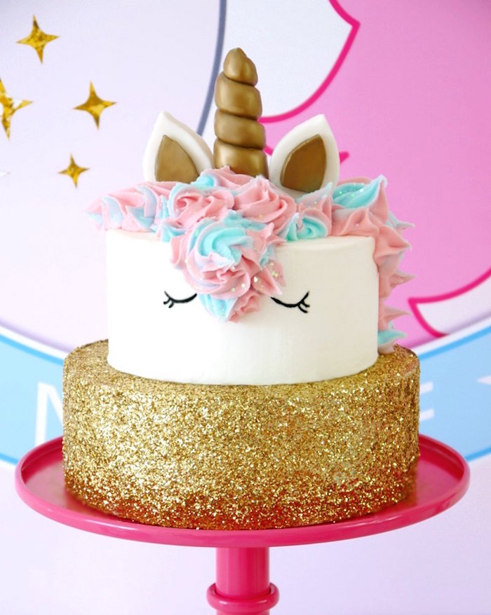 Unicorn cake from a Unicorn Slumber Party on Kara's Party Ideas | KarasPartyIdeas.com (30)