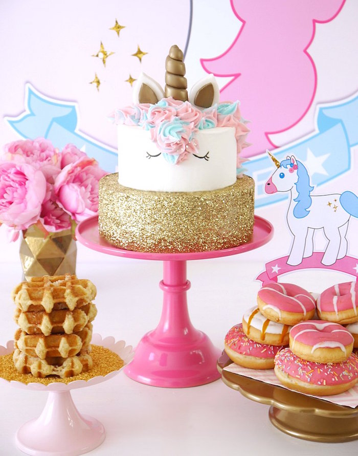 Unicorn cake from a Unicorn Slumber Party on Kara's Party Ideas | KarasPartyIdeas.com (29)