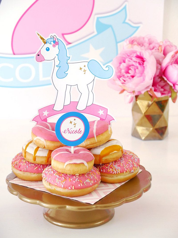 Doughnut stack from a Unicorn Slumber Party on Kara's Party Ideas | KarasPartyIdeas.com (28)