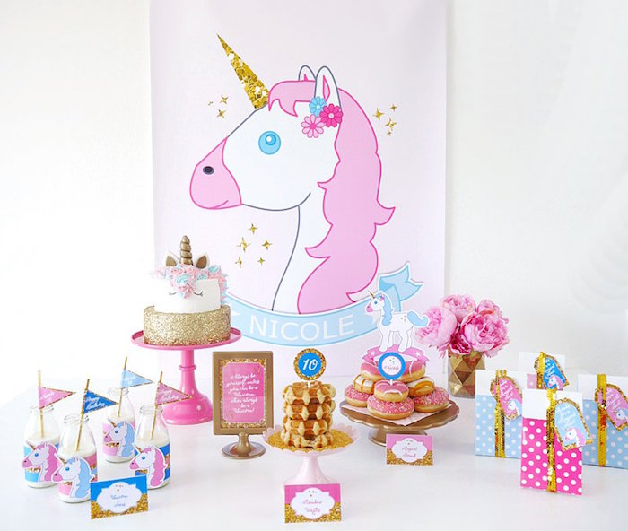 Unicorn dessert table from a Unicorn Slumber Party on Kara's Party Ideas | KarasPartyIdeas.com (26)
