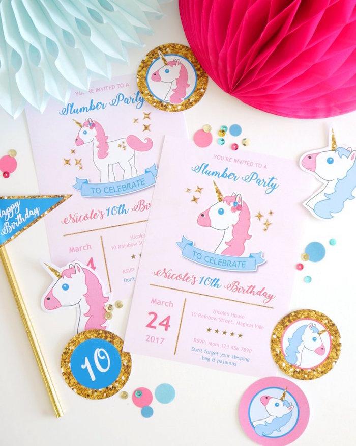 Kara\'s Party Ideas Unicorn Party Invite from a Unicorn Slumber ...