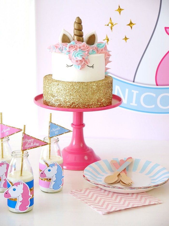 Cakescape + partyware from a Unicorn Slumber Party on Kara's Party Ideas | KarasPartyIdeas.com (23)