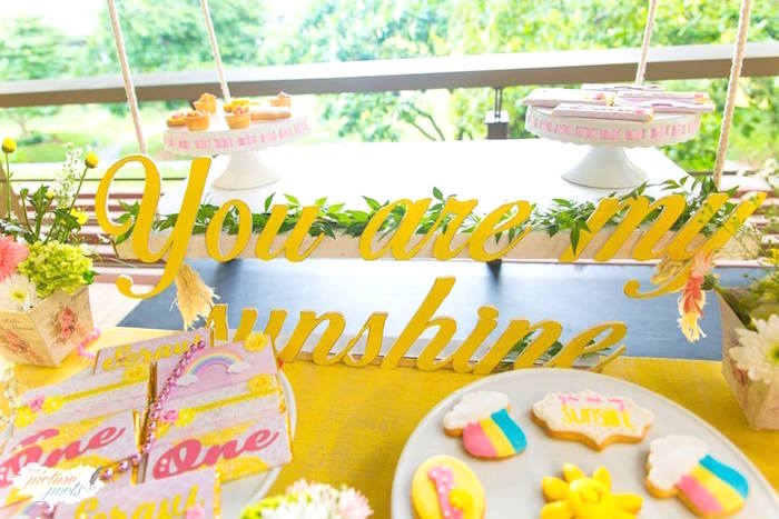 You Are My Sunshine Signage from a You Are My Sunshine Birthday Party on Kara's Party Ideas | KarasPartyIdeas.com (10)