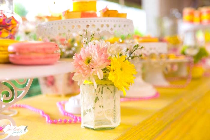 Laced vase of blooms from a You Are My Sunshine Birthday Party on Kara's Party Ideas | KarasPartyIdeas.com (8)