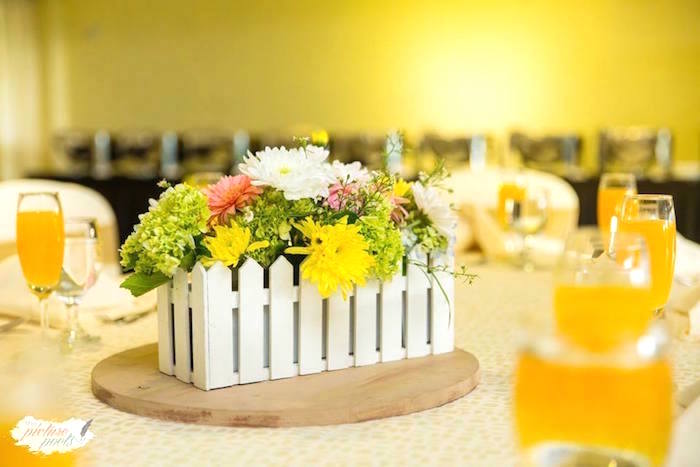 Picket fence floral centerpiece from a You Are My Sunshine Birthday Party on Kara's Party Ideas | KarasPartyIdeas.com (7)