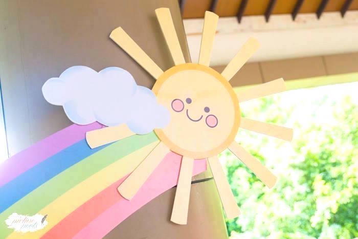 Sunbeam decoration from a You Are My Sunshine Birthday Party on Kara's Party Ideas | KarasPartyIdeas.com (6)