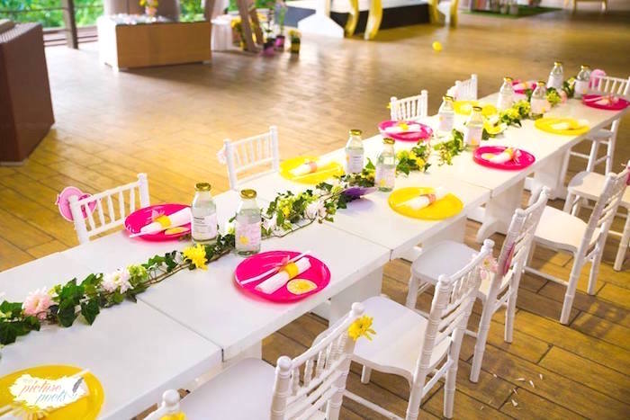 Guest table from a You Are My Sunshine Birthday Party on Kara's Party Ideas | KarasPartyIdeas.com (5)