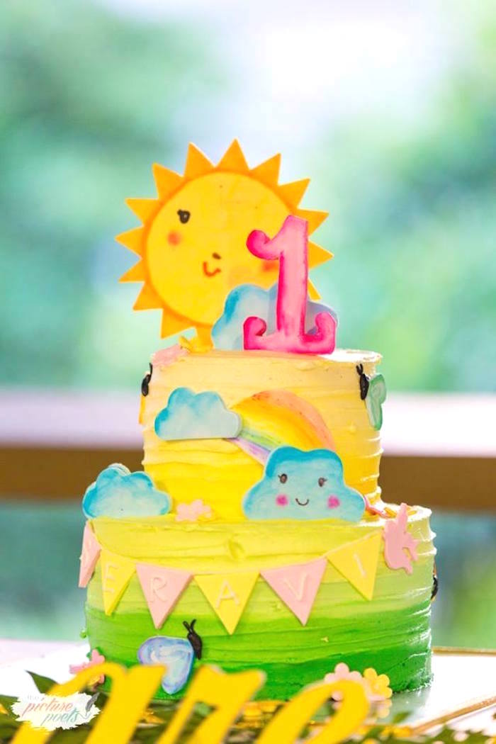 Sunshine Cake from a You Are My Sunshine Birthday Party on Kara's Party Ideas | KarasPartyIdeas.com (4)