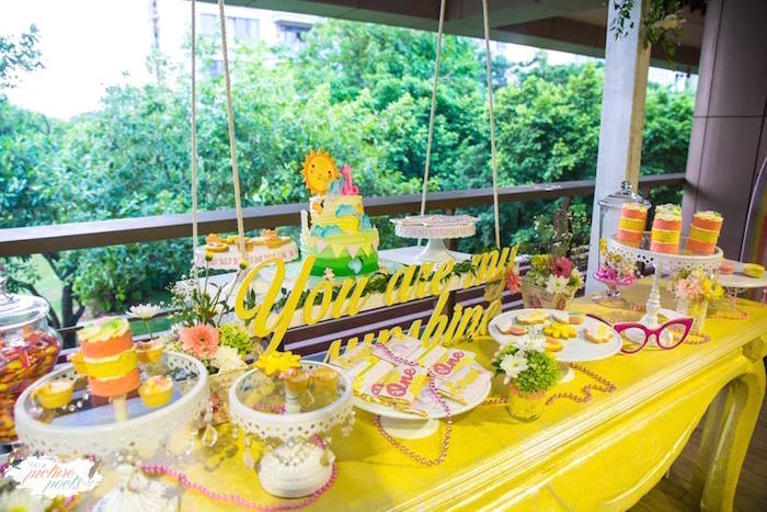 You Are My Sunshine Dessert Table from a You Are My Sunshine Birthday Party on Kara's Party Ideas | KarasPartyIdeas.com (21)
