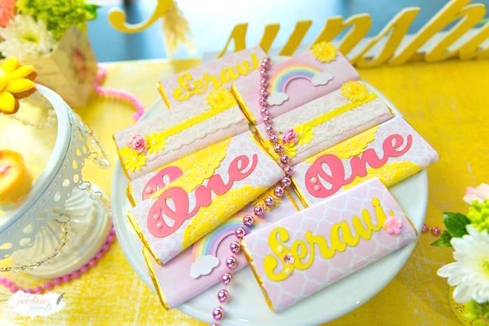 Custom pink + yellow candy bar wrappers from a You Are My Sunshine Birthday Party on Kara's Party Ideas | KarasPartyIdeas.com (17)