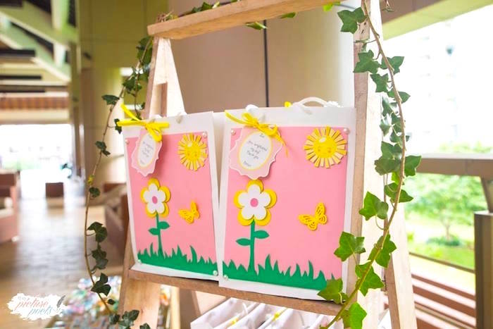 Girly garden gift bags from a You Are My Sunshine Birthday Party on Kara's Party Ideas | KarasPartyIdeas.com (15)