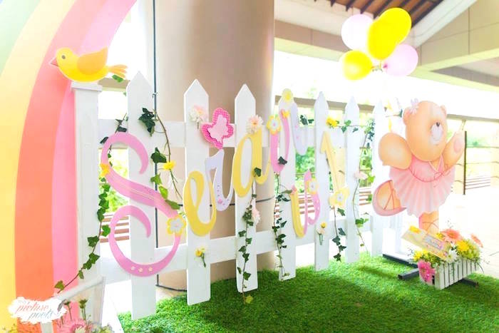 Picket fence backdrop from a You Are My Sunshine Birthday Party on Kara's Party Ideas | KarasPartyIdeas.com (14)