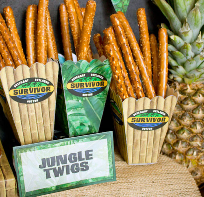 "Jungle twig pretzel rods from a ""Survivor"" Themed Summer Party on Kara's Party Ideas 