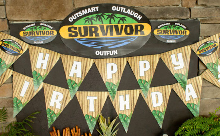 "Pennant banner from a ""Survivor"" Themed Summer Party on Kara's Party Ideas | KarasPartyIdeas.com"