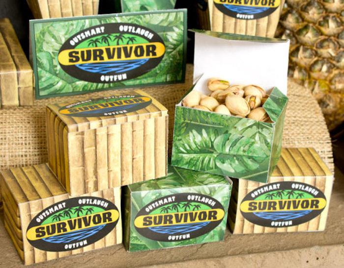 "Favor boxes from ""Survivor"" Themed Summer Party on Kara's Party Ideas | KarasPartyIdeas.com"