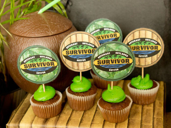 "Survivor cupcakes from a ""Survivor"" Themed Summer Party on Kara's Party Ideas 