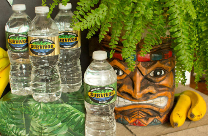 "Survivor water from a ""Survivor"" Themed Summer Party on Kara's Party Ideas 