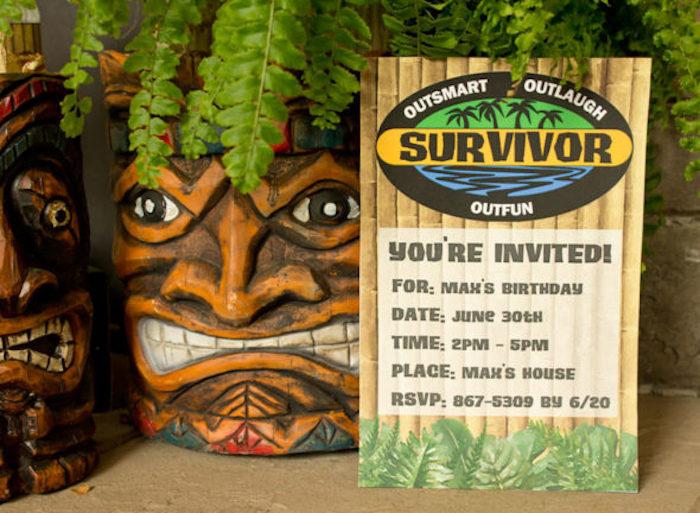 "Survivor Party Invite from a ""Survivor"" Themed Summer Party on Kara's Party Ideas | KarasPartyIdeas.com"