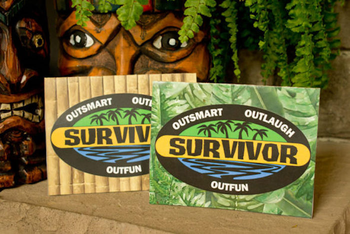"Tent card labels from a ""Survivor"" Themed Summer Party on Kara's Party Ideas 