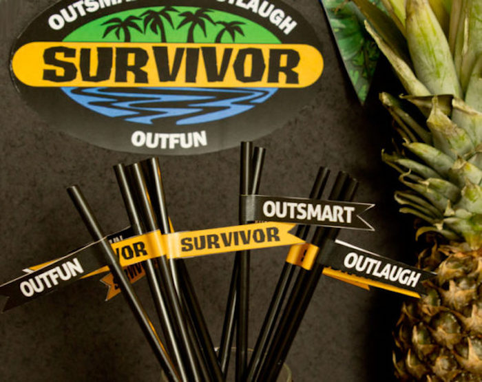 "Straw flags from a ""Survivor"" Themed Summer Party on Kara's Party Ideas 