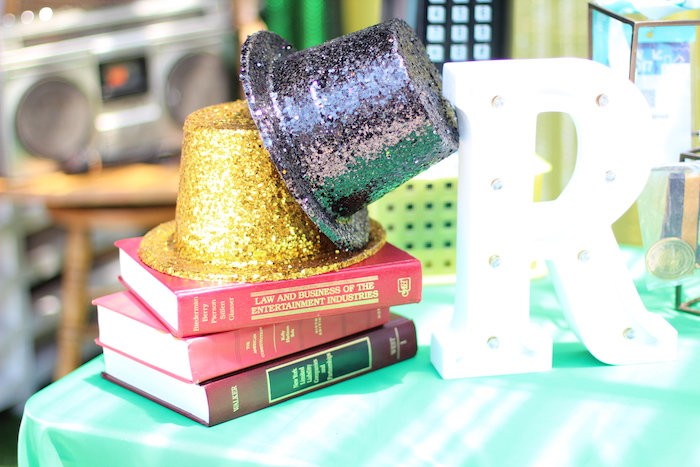 Glitter top hats from a 1980's Themed Birthday Party on Kara's Party Ideas | KarasPartyIdeas.com (10)