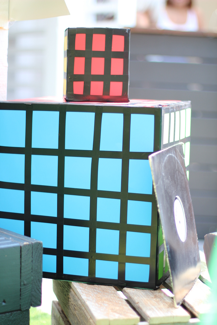 Cardboard Rubik's Cube from a 1980's Themed Birthday Party on Kara's Party Ideas | KarasPartyIdeas.com (6)