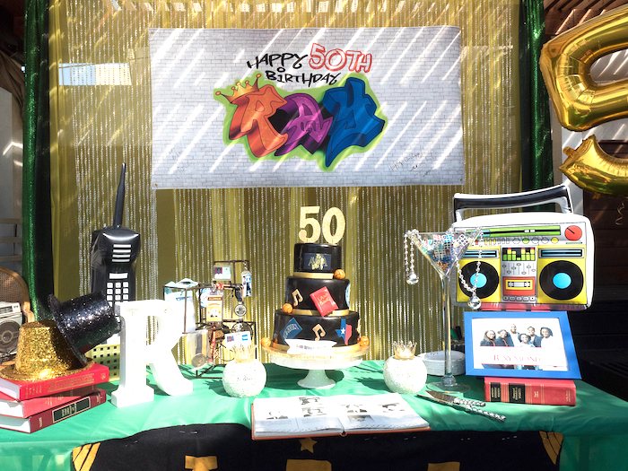 Cake table from a 1980's Themed Birthday Party on Kara's Party Ideas | KarasPartyIdeas.com (5)