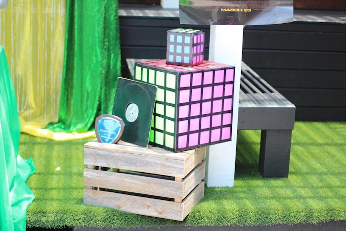 Cardboard Rubik's Cube decorations from a 1980's Themed Birthday Party on Kara's Party Ideas | KarasPartyIdeas.com (17)