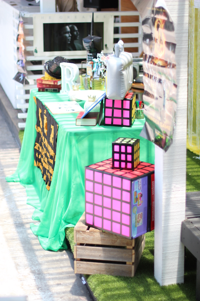 Cake table from a 1980's Themed Birthday Party on Kara's Party Ideas | KarasPartyIdeas.com (16)