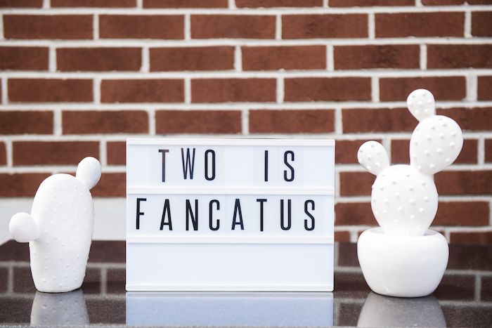 """Two is Fancatus"" light box signage from a ""Desert Love"" Cactus Themed Birthday Party on Kara's Party Ideas 