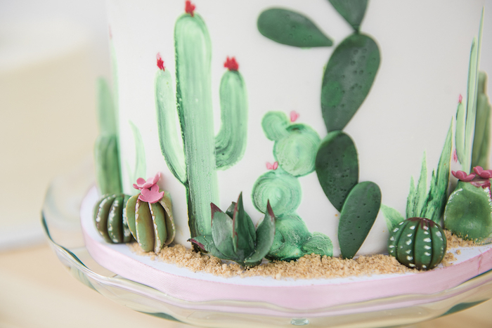 "Cactus cake detail from a ""Desert Love"" Cactus Themed Birthday Party on Kara's Party Ideas 