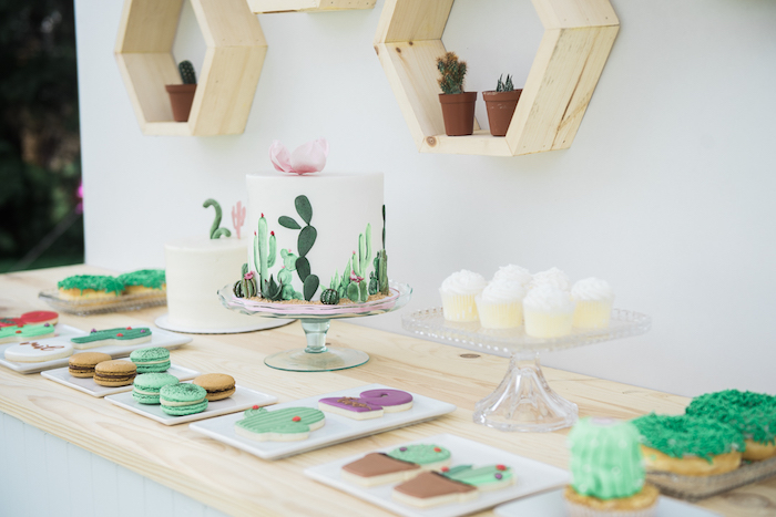 "Cactus cake table from a ""Desert Love"" Cactus Themed Birthday Party on Kara's Party Ideas 