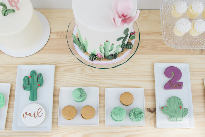 "Cookies & macarons from a ""Desert Love"" Cactus Themed Birthday Party on Kara's Party Ideas 