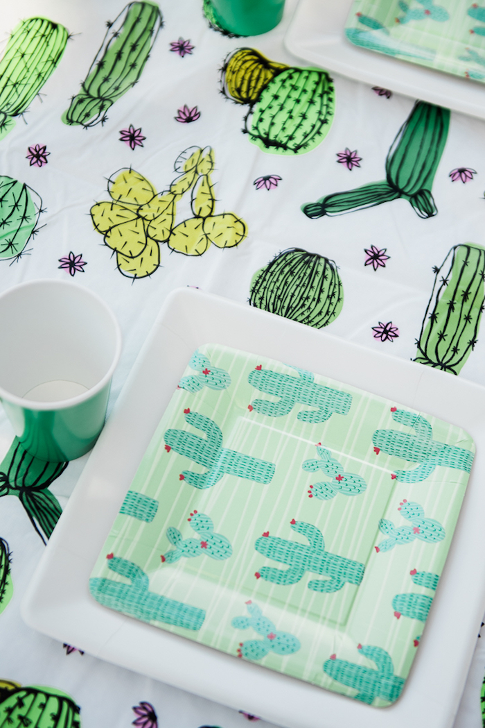 "Cactus place setting from a ""Desert Love"" Cactus Themed Birthday Party on Kara's Party Ideas 
